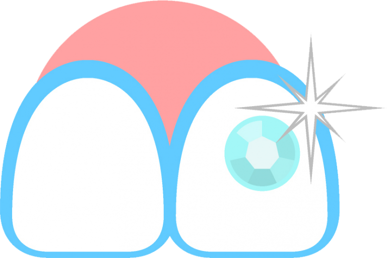 Illustration of two teeth, one with a diamond on it and a star symbol